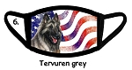 Belgian Tervuren Grey Patriotic face mask